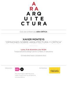 Xavier Monteys en ARA CRÍTICA
