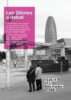 Debate abierto sobre Plaça de Les Glories en la ETSABarcelona UPC, el 12 a las 12