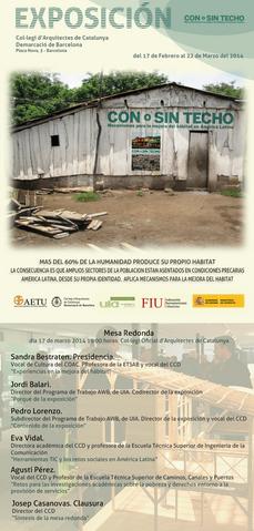 """Mesa Redonda: """"Con o Sin Techo"""", el 17MAR en el COAC BCN"""