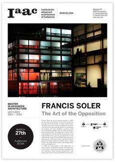 Francis Soler en el IAAC, viernes 27MAR, 19h30, BCN