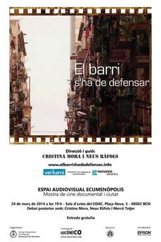 """ECUMENÓPOLIS: Film """"El Barri s'ha de defensar"""" 24MAR 19h, BCN"""