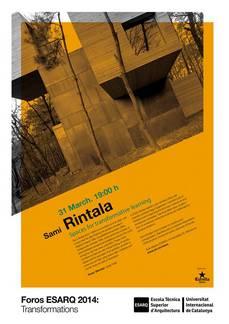 SAMI RINTALA en Barcelona, ESARQ-UIC, 31MAR 19h00