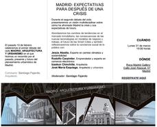 Expectativas para después de una crisis, en Madrid, 31MAR 19h00