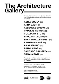 BCN The Architecture Gallery, 3ABR 19h30