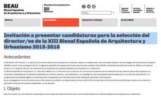 Convocatoria: concurso abierto para la dirección de la Bienal Española de Arquitectura y Urbanismo