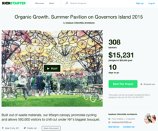 """goteo"" -crowd funding- para el Organic Growth. Summer Pavilion on Governors Island 2015"